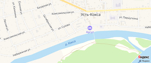 Набережная улица на карте села Усть-коксы с номерами домов