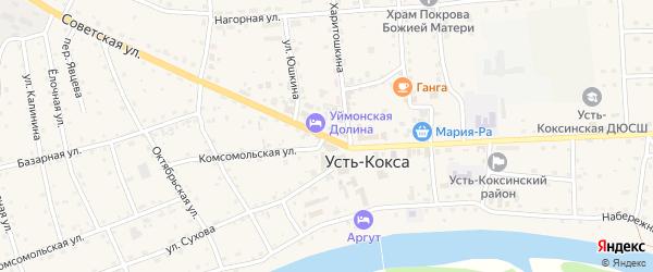 Советская улица на карте села Усть-коксы с номерами домов