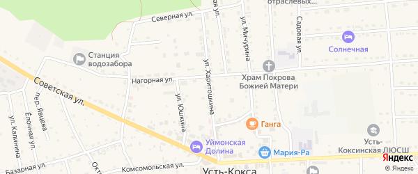 Улица Харитошкина на карте села Усть-коксы с номерами домов