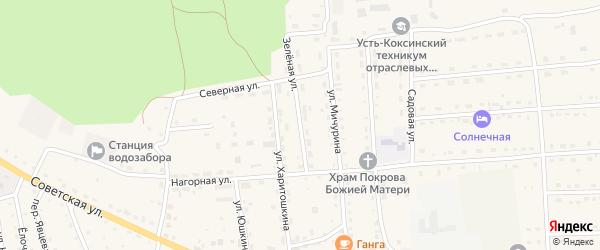 Зеленая улица на карте села Усть-коксы с номерами домов