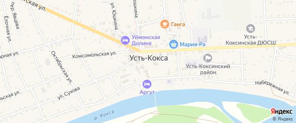 Коксинская улица на карте села Усть-коксы с номерами домов