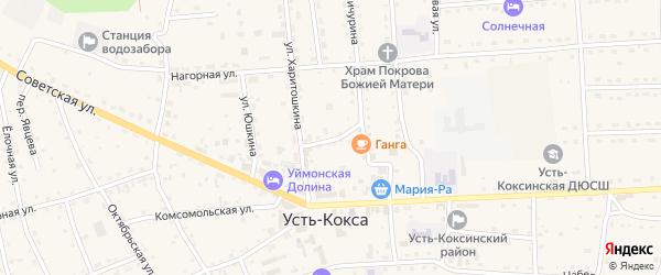 Весенний переулок на карте села Усть-коксы с номерами домов