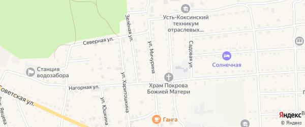 Улица Мичурина на карте села Усть-коксы с номерами домов