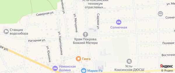 Ключевая улица на карте села Усть-коксы с номерами домов
