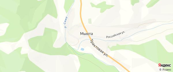 Карта села Мыюта в Алтае с улицами и номерами домов