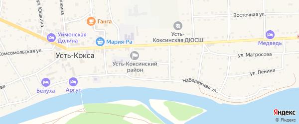 Улица Паршуткина на карте села Усть-коксы с номерами домов