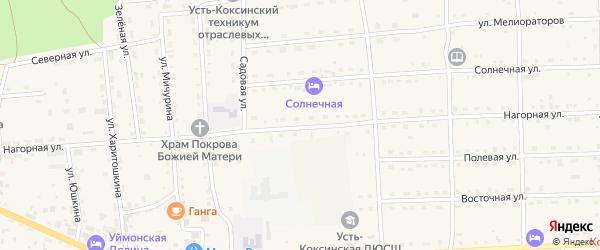 Нагорная улица на карте села Усть-коксы с номерами домов