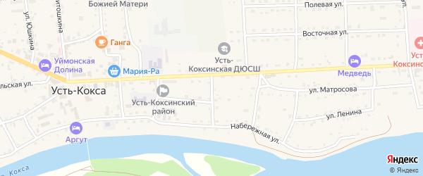 Майский переулок на карте села Усть-коксы с номерами домов