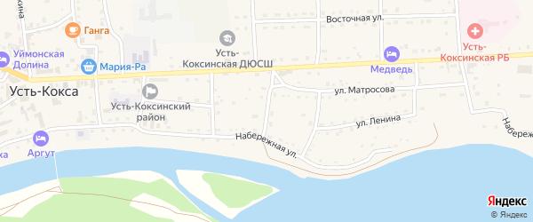 Улица Краскова на карте села Усть-коксы с номерами домов