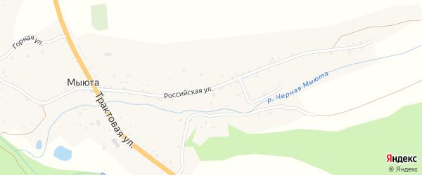 Российская улица на карте села Мыюта с номерами домов