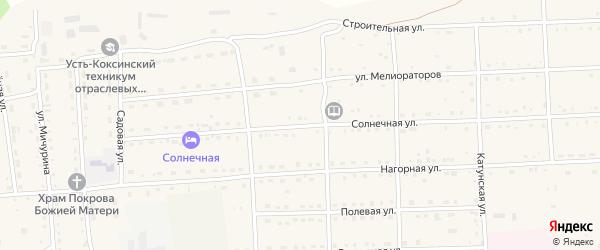 Солнечная улица на карте села Усть-коксы с номерами домов