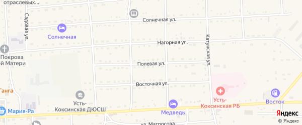 Полевая улица на карте села Усть-коксы с номерами домов