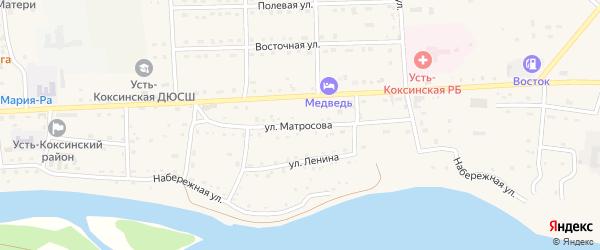 Улица Матросова на карте села Усть-коксы с номерами домов