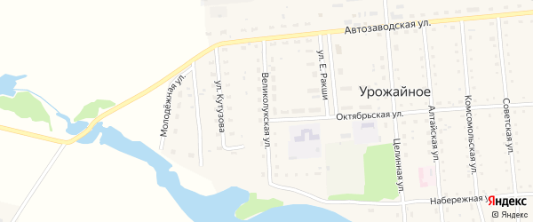 Великолукская улица на карте Урожайного села с номерами домов
