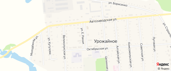 Улица Е.Ракши на карте Урожайного села с номерами домов