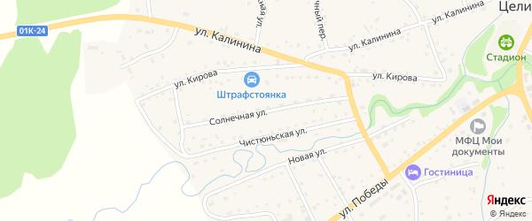 Солнечная улица на карте Целинного села с номерами домов
