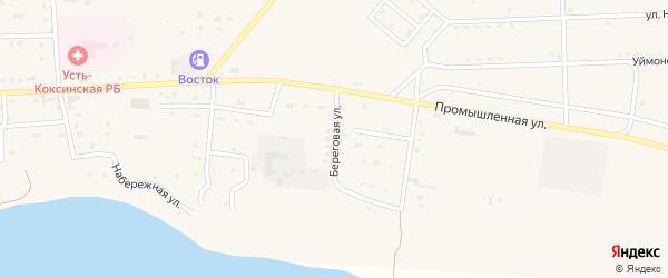 Береговая улица на карте села Усть-коксы с номерами домов