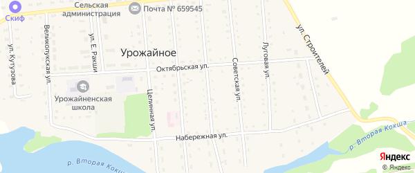 Комсомольская улица на карте Урожайного села с номерами домов