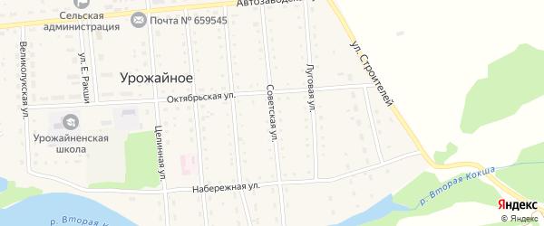 Советская улица на карте Урожайного села с номерами домов