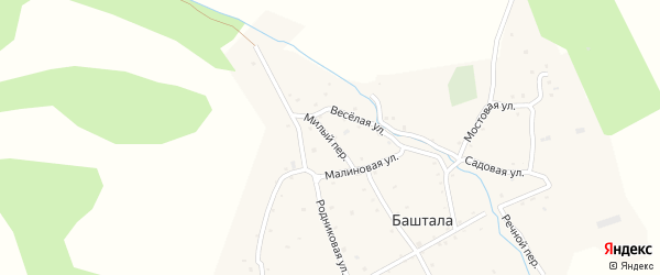 Милый переулок на карте села Башталы с номерами домов