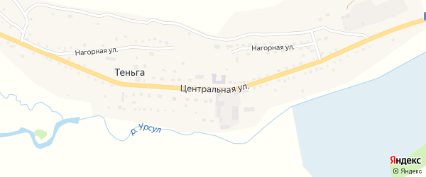 Центральная улица на карте села Теньги с номерами домов