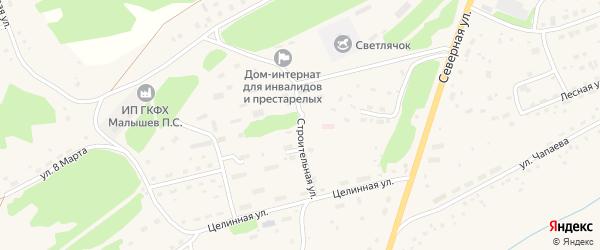 Строительная улица на карте Целинного села с номерами домов