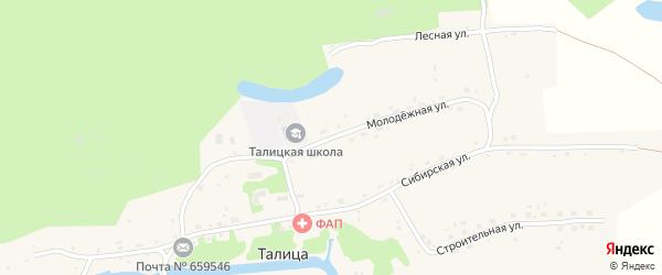 Молодежная улица на карте села Талицы с номерами домов