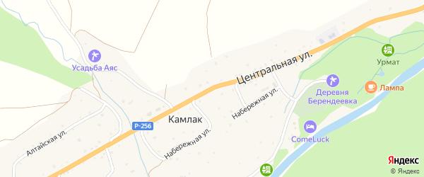 Центральная улица на карте села Камлака с номерами домов