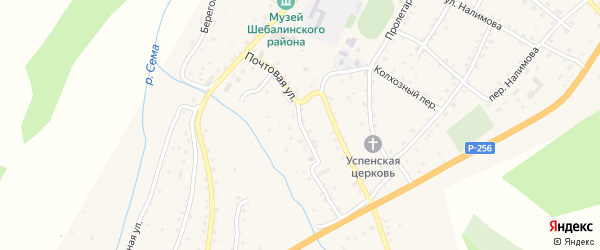 Почтовая улица на карте села Шебалино с номерами домов