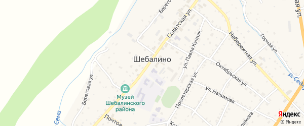 Улица Энергетиков на карте села Шебалино с номерами домов