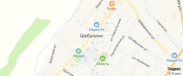 Сельская улица на карте села Шебалино с номерами домов