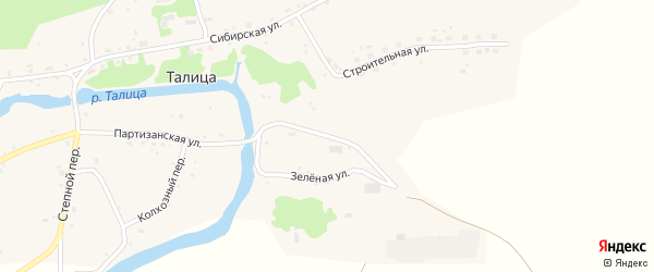 Зеленая улица на карте села Талицы с номерами домов