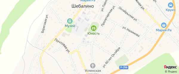 Новый переулок на карте села Шебалино с номерами домов