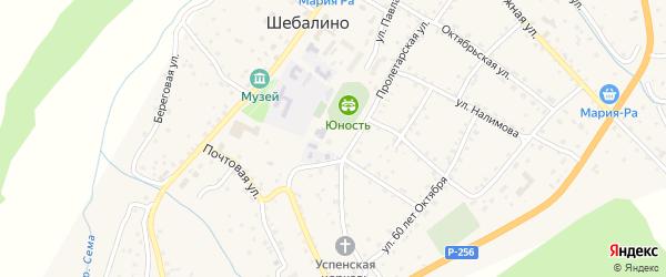 Зеленая улица на карте села Шебалино с номерами домов