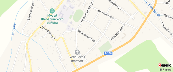 Колхозный переулок на карте села Шебалино с номерами домов