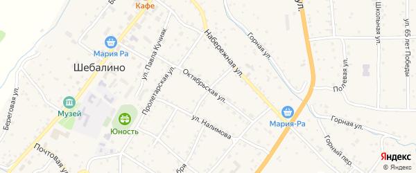Октябрьская улица на карте села Шебалино с номерами домов
