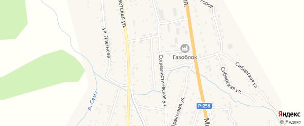 Социалистический переулок на карте села Шебалино с номерами домов