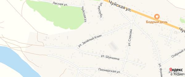 Улица Зеленый клин на карте села Сростки с номерами домов