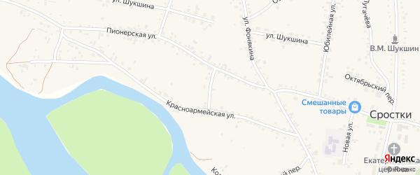 Знаменский переулок на карте села Сростки с номерами домов