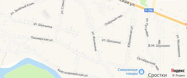 Улица Фонякина на карте села Сростки с номерами домов