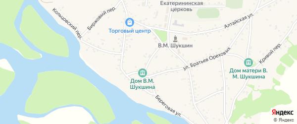 Набережный переулок на карте села Сростки с номерами домов