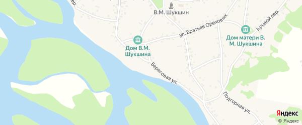 Береговая улица на карте села Сростки с номерами домов