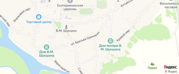 Улица Братьев Ореховых на карте села Сростки с номерами домов