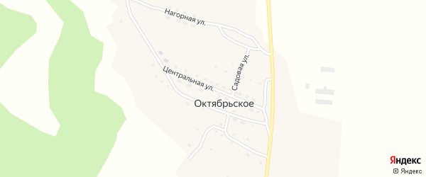 Центральная улица на карте поселка Октябрьского с номерами домов