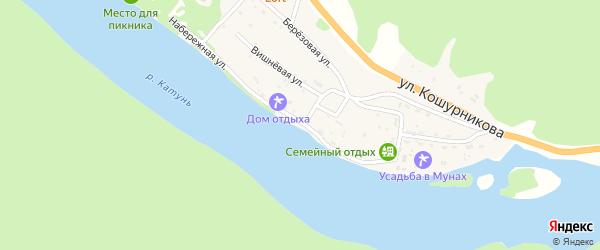 Набережная улица на карте села Усть-Муны с номерами домов