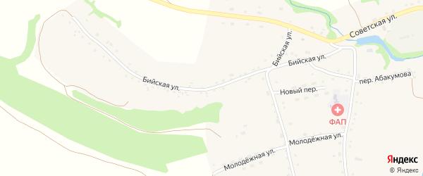 Бийская улица на карте Усятского села с номерами домов