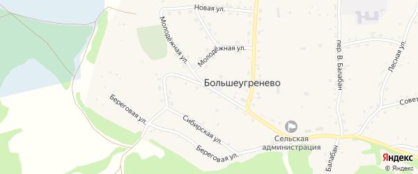 Центральная улица на карте села Большеугренево с номерами домов