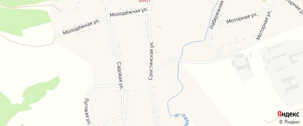 Сростинская улица на карте Усятского села с номерами домов