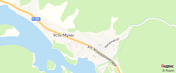 Садовый переулок на карте села Усть-Муны с номерами домов