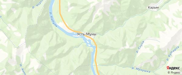 Карта Усть-Мунинского сельского поселения республики Алтай с районами, улицами и номерами домов